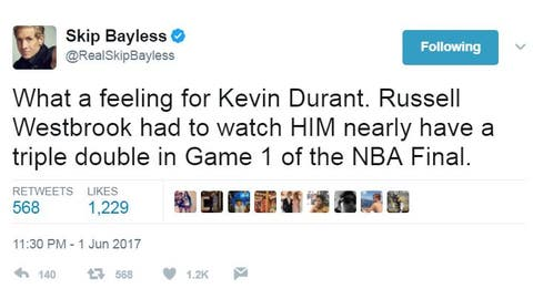 Skip mentioned the person we were all thinking about, Russell Westbrook ...