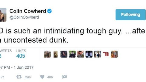 Colin, meanwhile, wasn't impressed with KD's dunking display.