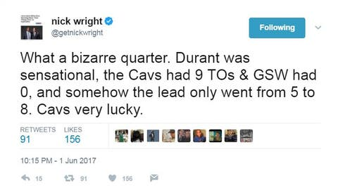 By halftime, Nick thought the Cavs were lucky to only trail by single-digits ...