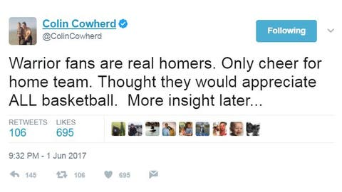 Colin had thoughts on Warriors fans from the start ...