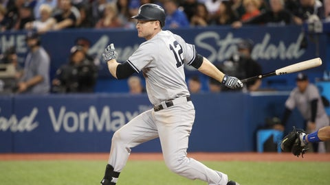 TORONTO, ON - JUNE 1: Chase Headley #12 of the New York Yankees hits an RBI single in the seventh inning during MLB game action against the Toronto Blue Jays at Rogers Centre on June 1, 2017 in Toronto, Canada. (Photo by Tom Szczerbowski/Getty Images)