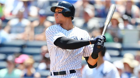 NEW YORK, NY - JUNE 11:  Aaron Judge #99 of the New York Yankees singles to right field in the first inning against the Baltimore Orioles at Yankee Stadium on June 11, 2017 in the Bronx borough of New York City.  (Photo by Mike Stobe/Getty Images)