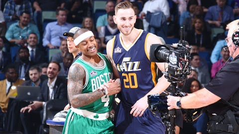NEW ORLEANS, LA - FEBRUARY 18: Isaiah Thomas #4 of the Boston Celtics and Gordon Hayward #20 of the Utah Jazz react during the Taco Bell Skills Challenge during State Farm All-Star Saturday Night as part of the 2017 NBA All-Star Weekend on February 18, 2017 at the Smoothie King Center in New Orleans, Louisiana. NOTE TO USER: User expressly acknowledges and agrees that, by downloading and/or using this photograph, user is consenting to the terms and conditions of the Getty Images License Agreement.  Mandatory Copyright Notice: Copyright 2017 NBAE (Photo by Nathaniel S. Butler/NBAE via Getty Images)