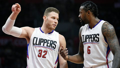 LOS ANGELES, CA - MARCH 25: Blake Griffin #32 and DeAndre Jordan #6 of the Los Angeles Clippers talk during the second half the basketball game against Utah Jazz at Staples Center March 25, 2017, in Los Angeles, California. NOTE TO USER: User expressly acknowledges and agrees that, by downloading and or using this photograph, User is consenting to the terms and conditions of the Getty Images License Agreement. (Photo by Kevork Djansezian/Getty Images)