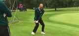 Manchester City manager Pep Guardiola shows golf prowess with chip-in at Belfry
