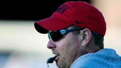 Mississippi head coach Hugh Freeze attends spring football practice in Oxford, Miss. on Thursday, March 2, 2017. (Bruce Newman/The Oxford Eagle via AP)