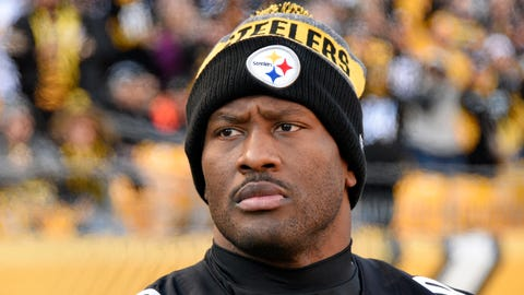 Pittsburgh Steelers outside linebacker James Harrison (92) stands on the sideline during the second half of an NFL football game against the Cleveland Browns in Pittsburgh, Sunday, Jan. 1, 2017. (AP Photo/Don Wright)
