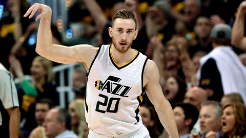 SALT LAKE CITY, UT - MAY 6: Gordon Hayward #20 of the Utah Jazz reacts to his late game three point basket during their 102-91 loss to the Golden State Warriors in Game Three of the Western Conference Semifinals during the 2017 NBA Playoffs at Vivint Smart Home Arena on May 6, 2017 in Salt Lake City, Utah. NOTE TO USER: User expressly acknowledges and agrees that, by downloading and or using this photograph, User is consenting to the terms and conditions of the Getty Images License Agreement. (Photo by Gene Sweeney Jr/Getty Images)