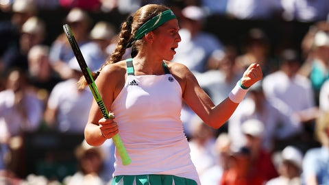 PARIS, FRANCE - JUNE 10:  Jelena Ostapenko of Latvia reacts during the ladies singles final against Simona Halep of Romania on day fourteen of the 2017 French Open at Roland Garros on June 10, 2017 in Paris, France.  (Photo by Julian Finney/Getty Images)