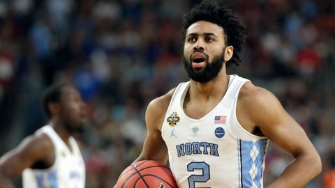 North Carolina's Joel Berry II (2) reacts after a play during the first half in the finals of the Final Four NCAA college basketball tournament against Gonzaga, Monday, April 3, 2017, in Glendale, Ariz. (AP Photo/Mark Humphrey)
