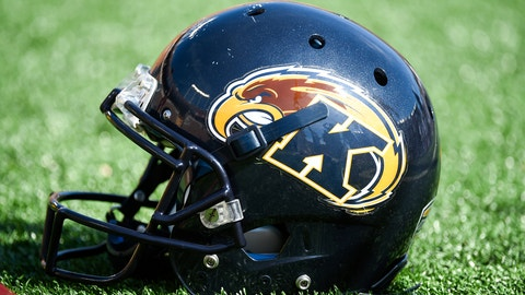 Kent State football helmet during the second half of an NCAA college football game on Saturday, Sept. 19, 2015, in Minneapolis. (AP Photo/Craig Lassig)