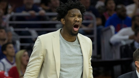 PHILADELPHIA, PA - FEBRUARY 27: Joel Embiid #21 of the Philadelphia 76ers reacts from the bench in the first quarter against the Golden State Warriors at the Wells Fargo Center on February 27, 2017 in Philadelphia, Pennsylvania. NOTE TO USER: User expressly acknowledges and agrees that, by downloading and or using this photograph, User is consenting to the terms and conditions of the Getty Images License Agreement. (Photo by Mitchell Leff/Getty Images)