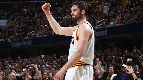 CLEVELAND, OH - JUNE 7:  Kevin Love #0 of the Cleveland Cavaliers celebrates during the game against the Golden State Warriors in Game Three of the 2017 NBA Finals on June 7, 2017 at Quicken Loans Arena in Cleveland, Ohio. NOTE TO USER: User expressly acknowledges and agrees that, by downloading and or using this photograph, user is consenting to the terms and conditions of Getty Images License Agreement. Mandatory Copyright Notice: Copyright 2017 NBAE (Photo by Nathaniel S. Butler/NBAE via Getty Images)