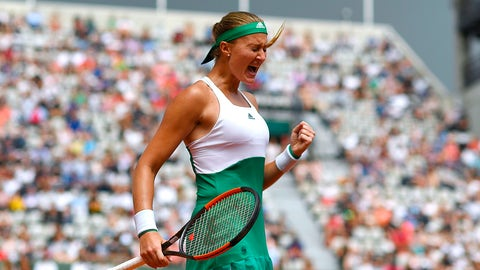 France's Kristina Mladenovic reacts after winning a point during her tennis match against US Shelby Rogers at the Roland Garros 2017 French Open on June 2, 2017 in Paris.  / AFP PHOTO / GABRIEL BOUYS        (Photo credit should read GABRIEL BOUYS/AFP/Getty Images)