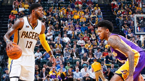 INDIANAPOLIS, IN - NOVEMBER 01: Paul George #13 of the Indiana Pacers handles the ball against Brandon Ingram #14 of the Los Angeles Lakers during the game at Bankers Life Fieldhouse on November 1, 2016 in Indianapolis, Indiana. The Pacers defeated the Lakers 115-108. NOTE TO USER: User expressly acknowledges and agrees that, by downloading and or using the photograph, User is consenting to the terms and conditions of the Getty Images License Agreement. (Photo by Joe Robbins/Getty Images)