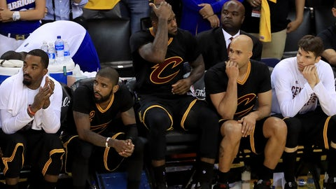 OAKLAND, CA - JUNE 04:  LeBron James #23 of the Cleveland Cavaliers watches the conclusion of the game against the Golden State Warriors from the bench during the second half of Game 2 of the 2017 NBA Finals at ORACLE Arena on June 4, 2017 in Oakland, California. NOTE TO USER: User expressly acknowledges and agrees that, by downloading and or using this photograph, User is consenting to the terms and conditions of the Getty Images License Agreement.  (Photo by Ronald Martinez/Getty Images)