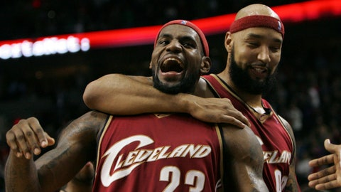 Cleveland Cavaliers LeBron James (23) celebrates with teammate Drew Gooden (90) after scoring the winning shot against the Portland Trail Blazers  in the fourth quarter of their NBA basketball game Wednesday, Jan. 30, 2008, at the Rose Garden, in Portland, Ore. The Cavaliers defeated the Trail Blazers 84-83. (AP Photo/Rick Bowmer)