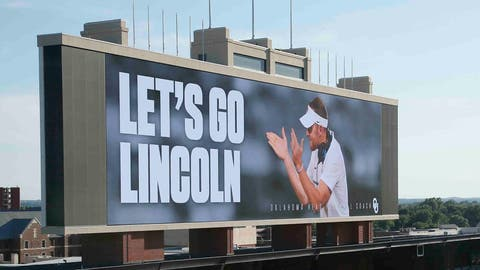 "The scoreboard at the Oklahoma football field reads ""Let's Go Lincoln"" following a news conference to announce the retirement of football coach Bob Stoops and the naming of Lincoln Riley as Stoops' successor, in Norman, Okla., Wednesday, June 7, 2017. (AP Photo/Sue Ogrocki)"