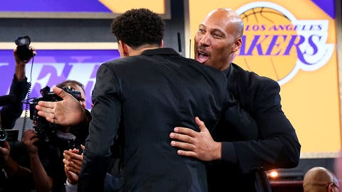 NEW YORK, NY - JUNE 22: Lonzo Ball reacts with his father LaVar Ball after being drafted second overall by the Los Angeles Lakers during the first round of the 2017 NBA Draft at Barclays Center on June 22, 2017 in New York City. NOTE TO USER: User expressly acknowledges and agrees that, by downloading and or using this photograph, User is consenting to the terms and conditions of the Getty Images License Agreement.  (Photo by Mike Stobe/Getty Images)