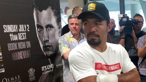 Manny Pacquiao speaks to the media in Brisbane, Tuesday, June 27, 2017. Pacquiao, is putting his WBO belt on the line Sunday, July 2, against the 29-year-old Australian fighter Jeff Horn. (AP Photo/John Pye)