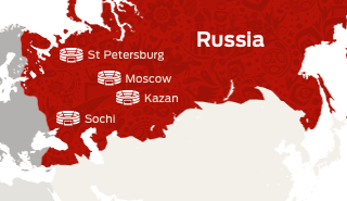 Map of Russia showing the locations of Confederations Cup stadiums