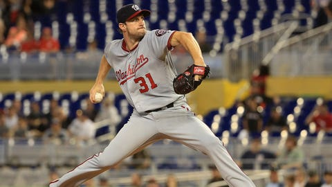 MIAMI, FL - JUNE 21:  Max Scherzer #31 of the Washington Nationals pitches during a game against the Miami Marlins at Marlins Park on June 21, 2017 in Miami, Florida.  (Photo by Mike Ehrmann/Getty Images)