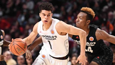 CHICAGO, IL - MARCH 29: McDonald's All-American West forward Michael Porter Jr. (1) drives in the first half during the McDonald's All American Game on March 29, 2017, at the United Center in Chicago, IL.(Photo by Patrick Gorski/Icon Sportswire) (Icon Sportswire via AP Images)