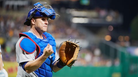 PITTSBURGH, PA - JUNE 17:  Chicago Cubs catcher Miguel Montero (47) looks at the dugout at the end of sixth inning during an MLB game between the Pittsburgh Pirates and the Chicago Cubs on June 17, 2017 at PNC Park in Pittsburgh, PA. (Photo by Shelley Lipton/Icon Sportswire) (Icon Sportswire via AP Images)