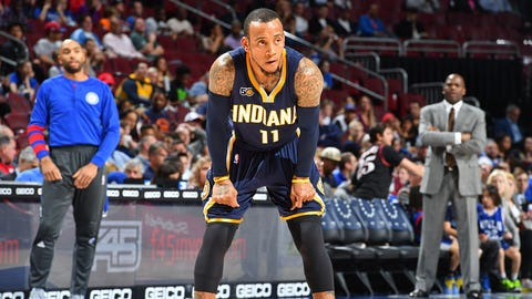 PHILADELPHIA,PA -  APRIL 10 : Monta Ellis #11 of the Indiana Pacers looks on against the Philadelphia 76ers at Wells Fargo Center on April 10, 2017 in Philadelphia, Pennsylvania NOTE TO USER: User expressly acknowledges and agrees that, by downloading and/or using this Photograph, user is consenting to the terms and conditions of the Getty Images License Agreement. Mandatory Copyright Notice: Copyright 2017 NBAE (Photo by Jesse D. Garrabrant/NBAE via Getty Images)