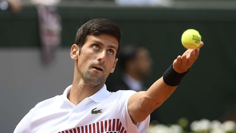 Novak Djokovic of Serbia in action on Day 4 of the French Open, Roland Garros, Paris, France Ambience, French Open Tennis, Day Four, Roland Garros, Paris, France - 31 May 2017 (Sipa via AP Images)