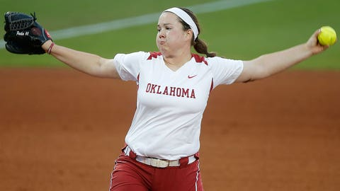 Oklahoma's Paige Parker pitches during an NCAA tournament regional softball game against Wichita State in Norman, Okla,, Friday, May 20, 2016. (Bryan Terry/The Oklahoman via AP)