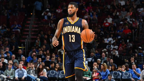 PHILADELPHIA,PA -  APRIL 10 : Paul George #13 of the Indiana Pacers dribbles the ball against the Philadelphia 76ers at Wells Fargo Center on April 10, 2017 in Philadelphia, Pennsylvania NOTE TO USER: User expressly acknowledges and agrees that, by downloading and/or using this Photograph, user is consenting to the terms and conditions of the Getty Images License Agreement. Mandatory Copyright Notice: Copyright 2017 NBAE (Photo by Jesse D. Garrabrant/NBAE via Getty Images)