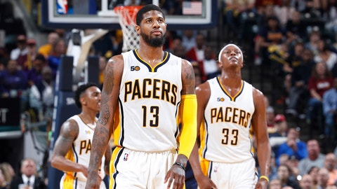 INDIANAPOLIS, IN - APRIL 23: Paul George #13 and Myles Turner #33 of the Indiana Pacers react in the second half of Game Four of the Eastern Conference Quarterfinals during the 2017 NBA Playoffs against the Cleveland Cavaliers at Bankers Life Fieldhouse on April 23, 2017 in Indianapolis, Indiana. The Cavaliers defeated the Pacers 106-102 to sweep the series 4-0. NOTE TO USER: User expressly acknowledges and agrees that, by downloading and or using the photograph, User is consenting to the terms and conditions of the Getty Images License Agreement. (Photo by Joe Robbins/Getty Images)