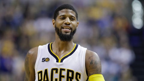 Indiana Pacers' Paul George in action during the second half of an NBA basketball game against the Atlanta Hawks, Wednesday, April 12, 2017, in Indianapolis. Indiana defeated Atlanta 104-86. (AP Photo/Darron Cummings)