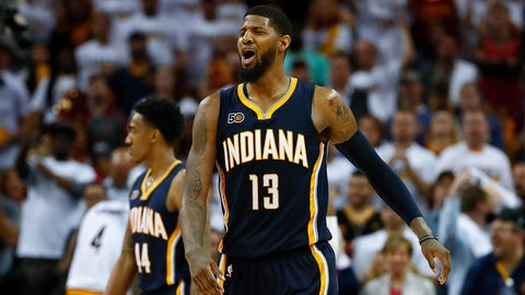 CLEVELAND, OH - APRIL 17: Paul George #13 of the Indiana Pacers reacts to a late foul call while playing the Cleveland Cavaliers in Game Two of the Eastern Conference Quarterfinals during the 2017 NBA Playoffs at Quicken Loans Arena on April 17, 2017 in Cleveland, Ohio. Cleveland won the game 117-111 to take a 2-0 series lead. NOTE TO USER: User expressly acknowledges and agrees that, by downloading and or using this photograph, User is consenting to the terms and conditions of the Getty Images License Agreement.  (Photo by Gregory Shamus/Getty Images)