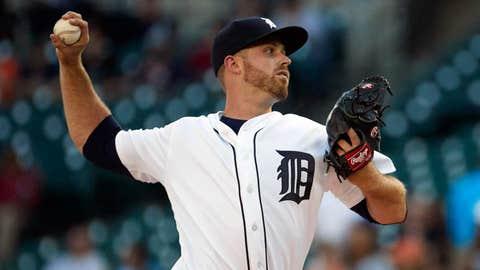 Tigers starting pitcher Buck Farmer (2-0, 0.00 ERA)
