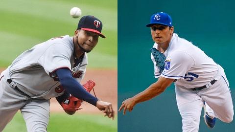 Twins pitcher Ervin Santana and Royals pitcher Jason Vargas