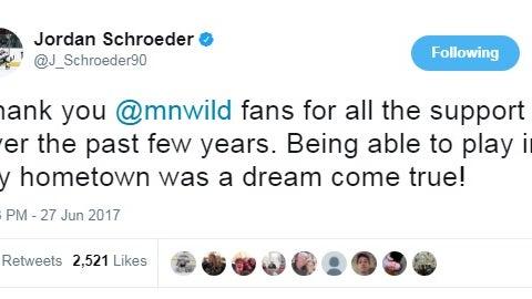 Jordan Schroeder, former Wild forward