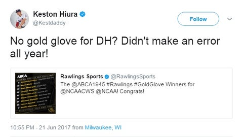 Keston Hiura, Brewers prospect (via Rawlings Sports)