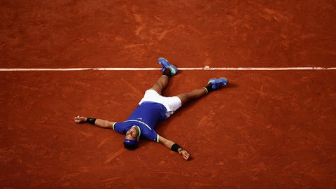 PARIS, FRANCE - JUNE 11:  Rafael Nadal of Spain celebrates victory following the mens singles final against Stan Wawrinka of Switzerland on day fifteen of the 2017 French Open at Roland Garros on June 11, 2017 in Paris, France.  (Photo by Julian Finney/Getty Images)