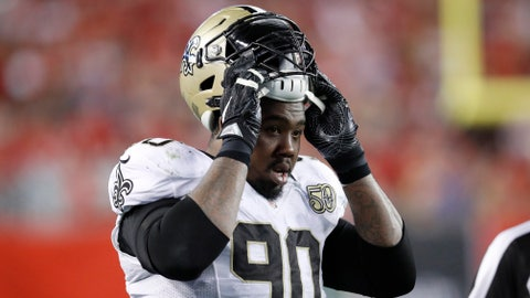 TAMPA, FL - DECEMBER 11: Nick Fairley #90 of the New Orleans Saints looks on during the game against the Tampa Bay Buccaneers at Raymond James Stadium on December 11, 2016 in Tampa, Florida. Tampa Bay defeated New Orleans 16-11. (Photo by Joe Robbins/Getty Images)