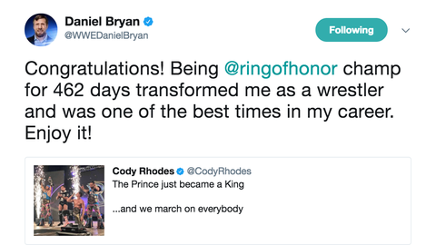 After Cody Rhodes captured the Ring Of Honor World Championship