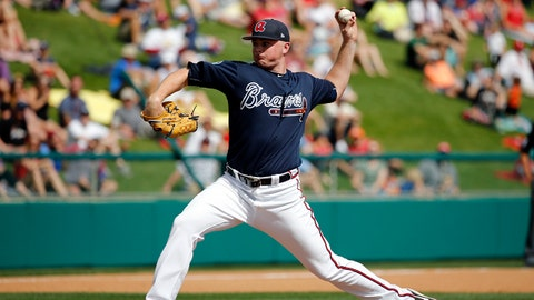 Mar 8, 2017; Lake Buena Vista, FL, USA; Atlanta Braves starting pitcher Sean Newcomb (76) throws a pitch during the fourth inning against the Philadelphia Phillies at Champion Stadium. Mandatory Credit: Kim Klement-USA TODAY Sports