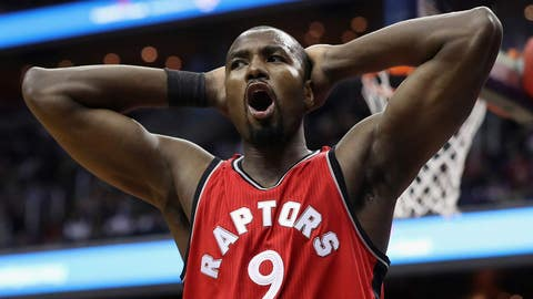 WASHINGTON, DC - MARCH 03: Serge Ibaka #9 of the Toronto Raptors reacts to being called for a second half foul against the Washington Wizards at Verizon Center on March 3, 2017 in Washington, DC. NOTE TO USER: User expressly acknowledges and agrees that, by downloading and or using this photograph, User is consenting to the terms and conditions of the Getty Images License Agreement.  (Photo by Rob Carr/Getty Images)