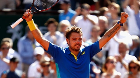 PARIS, FRANCE - JUNE 09:  Stan Wawrinka of Switzerland celebrates victory following the mens singles semi-final match against Andy Murray of Great Britain on day thirteen of the 2017 French Open at Roland Garros on June 9, 2017 in Paris, France.  (Photo by Adam Pretty/Getty Images)