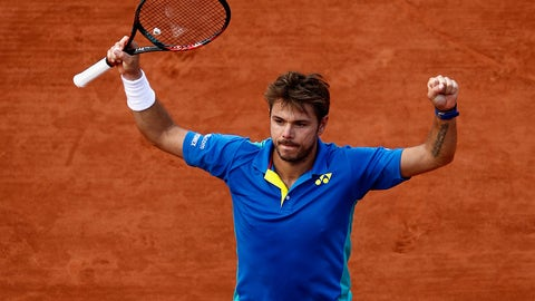 PARIS, FRANCE - JUNE 07:  Stan Wawrinka of Switzerland celebrates his mens singles quarter final victory over Marin Cilic of Croatia on day eleven of the 2017 French Open at Roland Garros on June 7, 2017 in Paris, France.  (Photo by Adam Pretty/Getty Images)