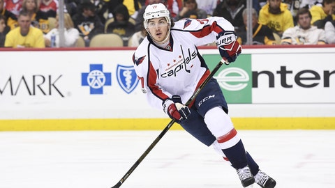 PITTSBURGH, PA - MAY 08: Washington Capitals right wing T.J. Oshie (77) skates during the third period in Game Six of the Eastern Conference Second Round in the 2017 NHL Stanley Cup Playoffs between the Washington Capitals and the Pittsburgh Penguins on May 8, 2017, at PPG Paints Arena in Pittsburgh, PA. The Washington Capitals avoided elimination with a 5-2 win to even the series 3-3. (Photo by Jeanine Leech/Icon Sportswire) (Icon Sportswire via AP Images)