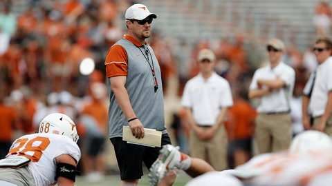AUSTIN, TX - APRIL 15:  Head coach Tom Herman of the Texas Longhorns observes players stretching before the Orange-White Spring Game at Darrell K Royal-Texas Memorial Stadium on April 15, 2017 in Austin, Texas.  (Photo by Tim Warner/Getty Images)