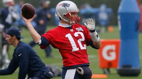 New England Patriots quarterback Tom Brady passes the ball during NFL football organized team activities Thursday, May 25, 2017, in Foxborough, Mass. (AP Photo/Bill Sikes)