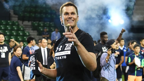 TOKYO, JAPAN - JUNE 21:  New England Patriots NFL quarterback Tom Brady during the Under Armour 2017 Tom Brady Asia Tour at Ariake Colosseum on June 21, 2017 in Tokyo, Japan.  (Photo by Jun Sato/WireImage)
